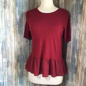 Loft soft short sleeve peplum top size small